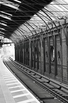 Black And White, Railway Station, Berlin, Travel