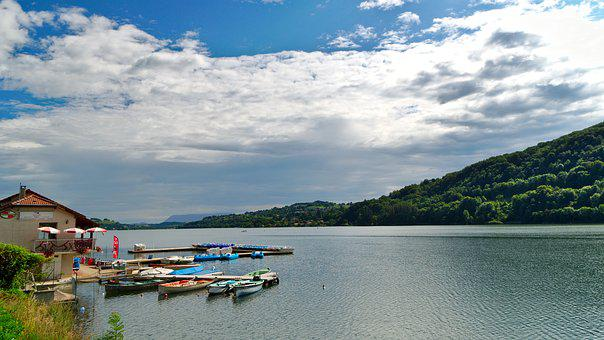 Lake, Paladru, Charavines, Boats, Boat, Landscape