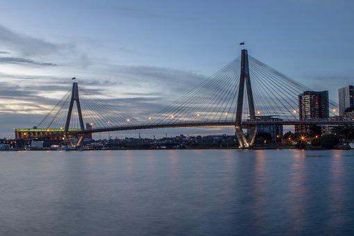 Anzac, Bridge, Sydney, Sunset, Water, Australia
