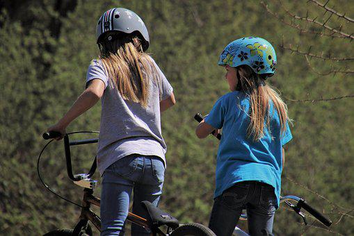 Bikepark, Bike, Bmx, Helmet, Sisters, Conversation