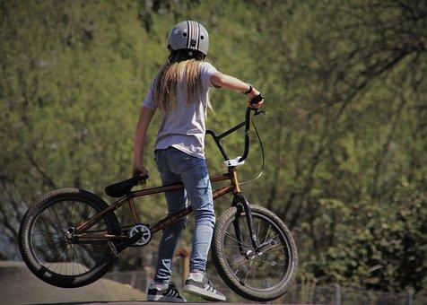 Bike, Bmx, The Silhouette, She, Vehicle, Sports, Girl