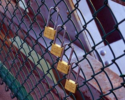 Four Love Locks, Love, Padlock, Heart, Friendship, Lock