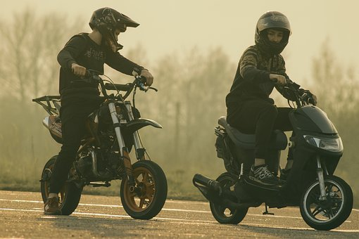 Teenagers On Mopeds, Scooter, Helmet, Motorcycle