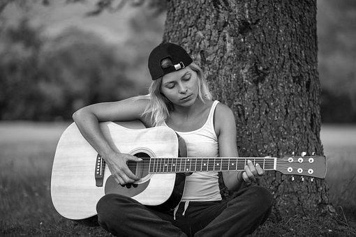Girl, Guitar, Music, Playing, Hobby, Hobbies, Tranquil