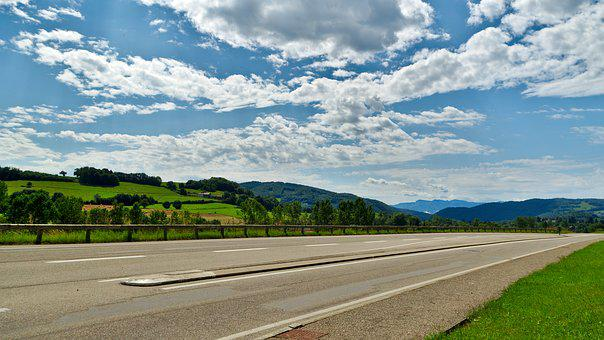 Road, Charavines, Isère, Rhône, Alps, France, Landscape