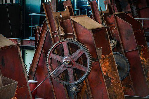 Industrial Plant, Machine, Gear, Steel, Rust, Old