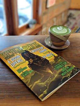 Magazine, Cafe, Read, Literature, Matcha, Latte, Coffee