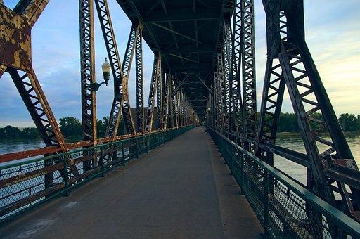 Meridian Highway Bridge At Yankton, Bridge, Road