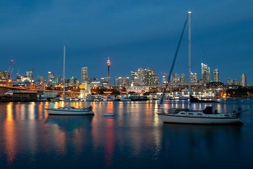 Sydney, Skyline, Water, Night, Harbour, Boats