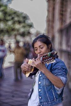 Street, Women, Artist, Charangista, Portrait, Urban
