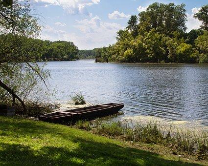 River, Riverside, Tisza, Mártély, Boat, Landscape