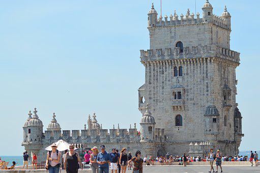 Tower, Sky, Blue, Tourists, Portugal, Beléem