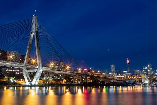 Anzac, Bridge, Sydney, Water, Night, Colour, Color