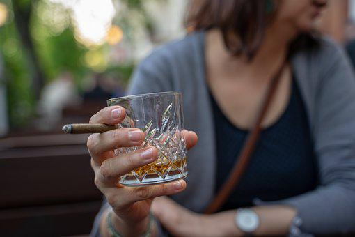 Whiskey Glass, Cigar, Hand, Woman, Beer Garden, Whisky
