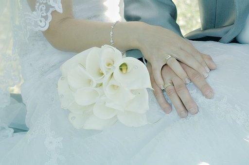 Wedding, Husband, Wife, Bouquet, Creeks, Bride, Married