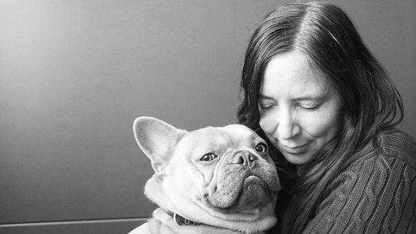 French Bulldog, Dog, Woman, Black White, Animal, Sweet
