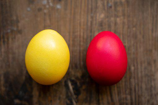 Easter Eggs, Easter, Yellow, Red, Egg, Colorful