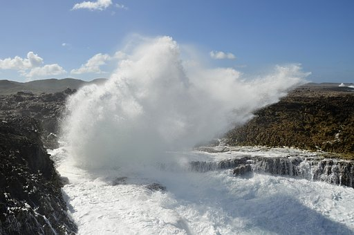 Boka Pistol, Curacao, Water, Rocks, Waves, Fountain
