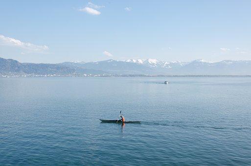Kayak, Lake Constance, Lake, Mountains, Water, Sky