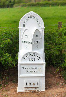 Mile Stone, Marker, Distance, Direction, Old, Travel