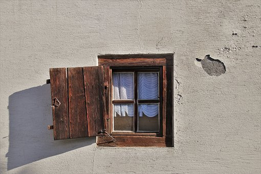 Monument, Old Windows, Shutters, Window Sill, Building