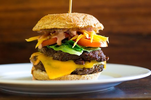 Burger, Food, Plate, Hamburger, Restaurant, Meat, Bread