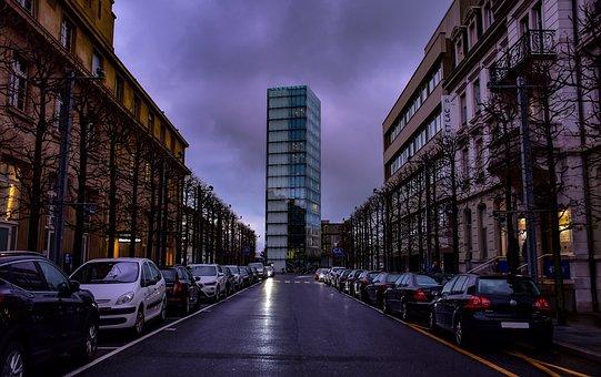 Twilight, Clouds, Storm, Dark, Street, Tower, Buildings