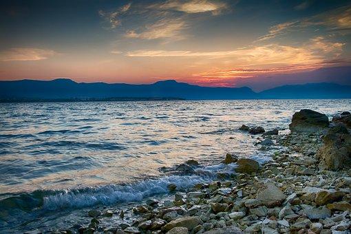 Beach, Sea, Sunrise, Part, Mountains, Landscape