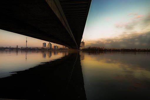 Bridge, Sunset, River, Water, Landscape, Dusk, City