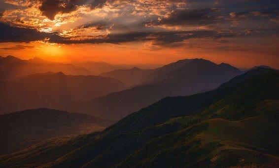 Nature, Clouds, Mountains, Landscape, Sunset