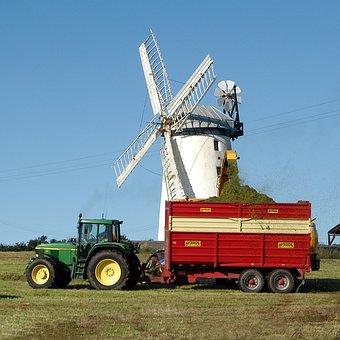 Field, Windmill, Tractor, Tractors, Windmills, Harvest