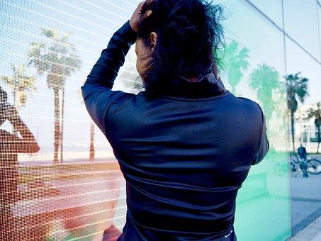 Woman, Mirror, Barcelona, Palms, Girl, Reflection
