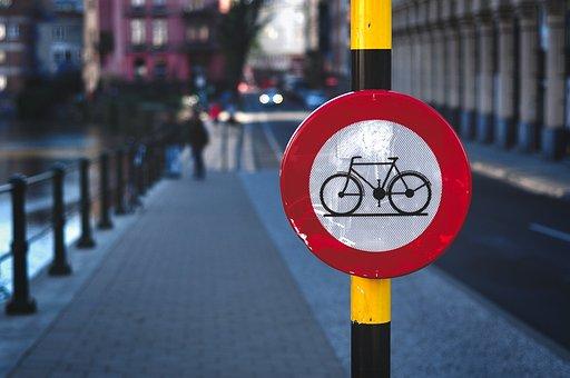 Bike, Signalling, Travel, Ban, Forbidden, City, Ghent