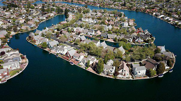 Buildings, Island, Foster City, Drone