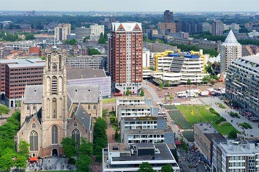 Rotterdam, Laurens, Church, City, Cityscape, View
