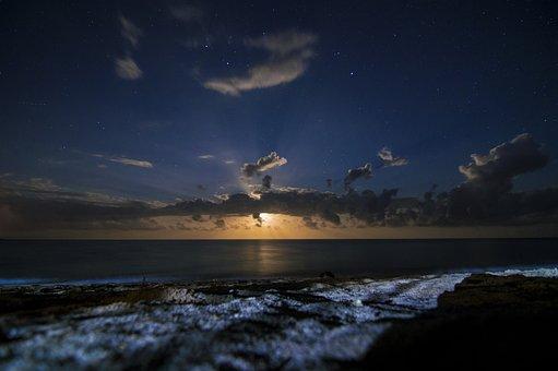 Night, Beach, Sea, Moonlight, Fantasy, Clouds, Ocean