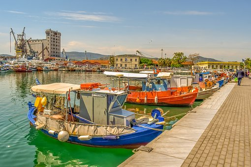 Boats, Port, Harbour, Sea, Dock, Town, Volos, Greece