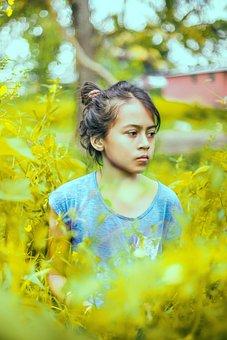 Nature, Girl, Portrait, Flowers, Kids, Grass