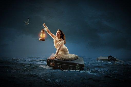 Woman, Human, Water, Sea, Climate, Luggage, Lamp, Light