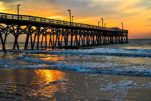 Dock, Ocean, Sunrise, Pier, Beach, Water, Vacation, Sky