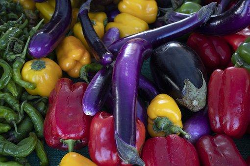 Vegetables, Eggplant, Bell Pepper, Fresh, Organic