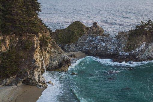 Big Sur, State, Park, Waterfall, Beach, Nature, Travel
