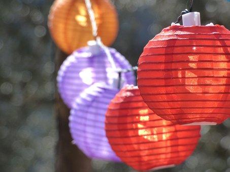 Lanterns, Wreath, Lights, Party, Colors, Berbena