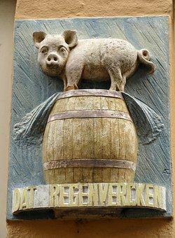 Facing Brick, Decoration, Wall, Architecture, Pig, Tons
