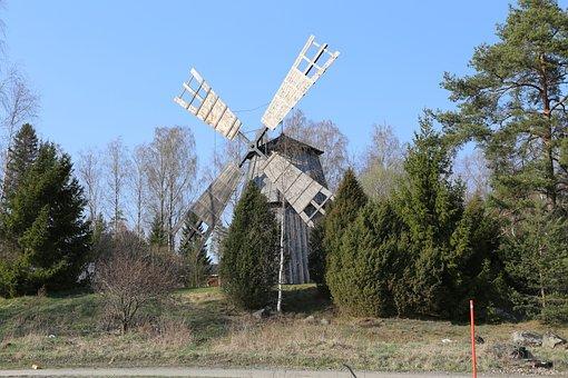 Windmill, Finnish, Sastamala, Spring, Old, Countryside