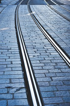 Rail, Tram, Metro, Train, City, Urban, Pavement, Road