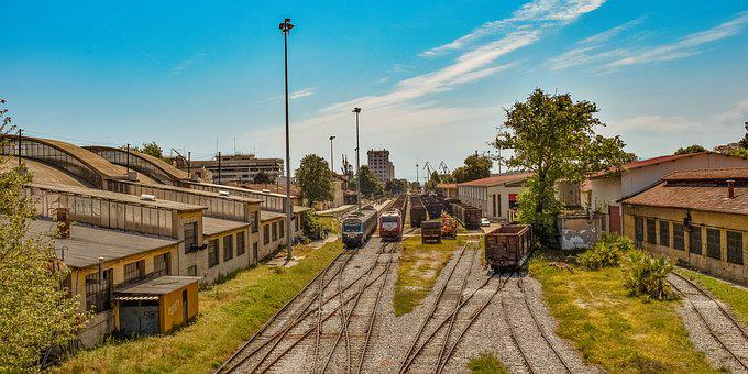 Rails, Railway Station, Urban, Wagon, City, Volos
