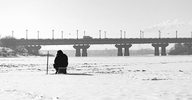 Ice, River, Winter, Fishing, Snow, Landscape, Bridge