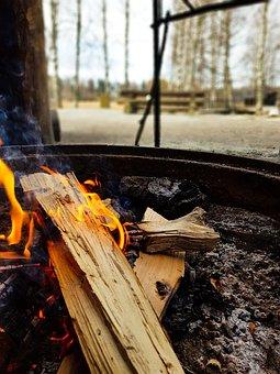 Campfire, Grill, Hut, Flame, Embers, Heat, An Open Fire