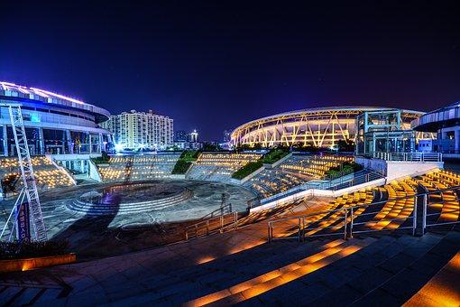 City, Building, Build, Lamp, Night, City Centre